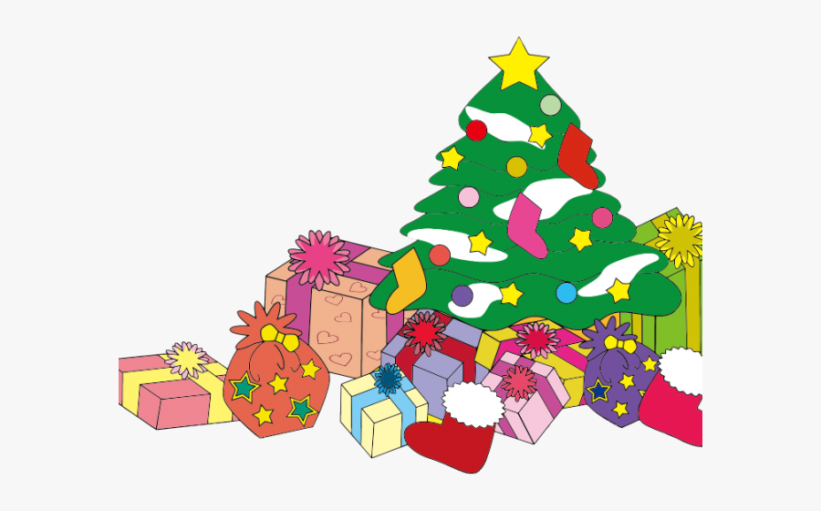 Christmas Tree With Gifts Clipart, Transparent Clipart