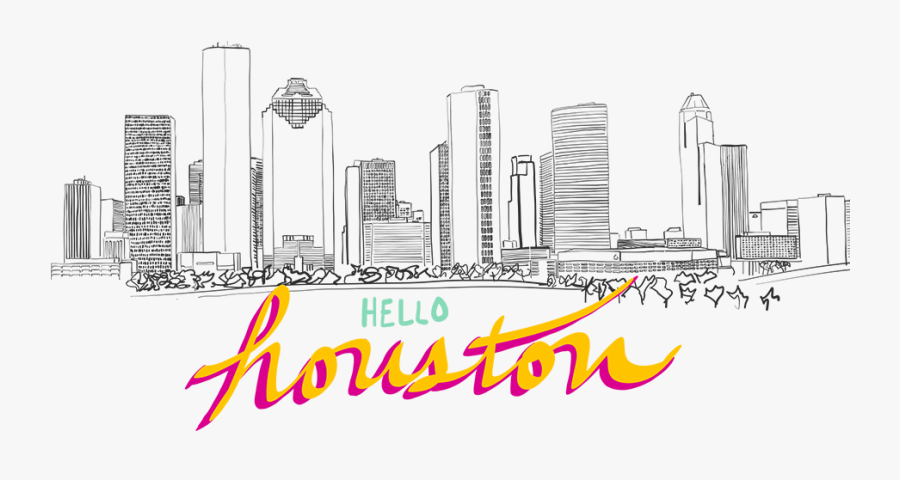 Welcome To Houston Drawing - Houston Texas Skyline Drawing, Transparent Clipart