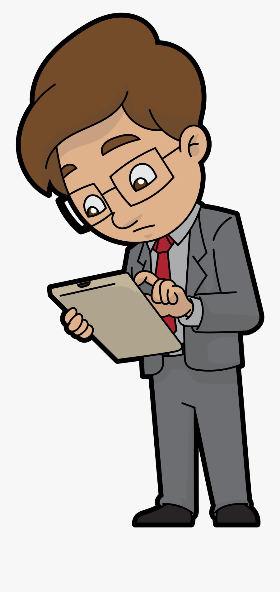 Transparent Hypothesis Clipart - Cartoon Man With Clipboard, Transparent Clipart