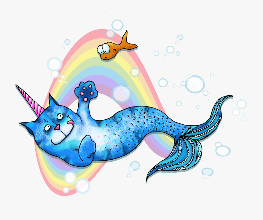 Clipart Whale Whimsical - Unicorn Mermaid Cat Art, Transparent Clipart
