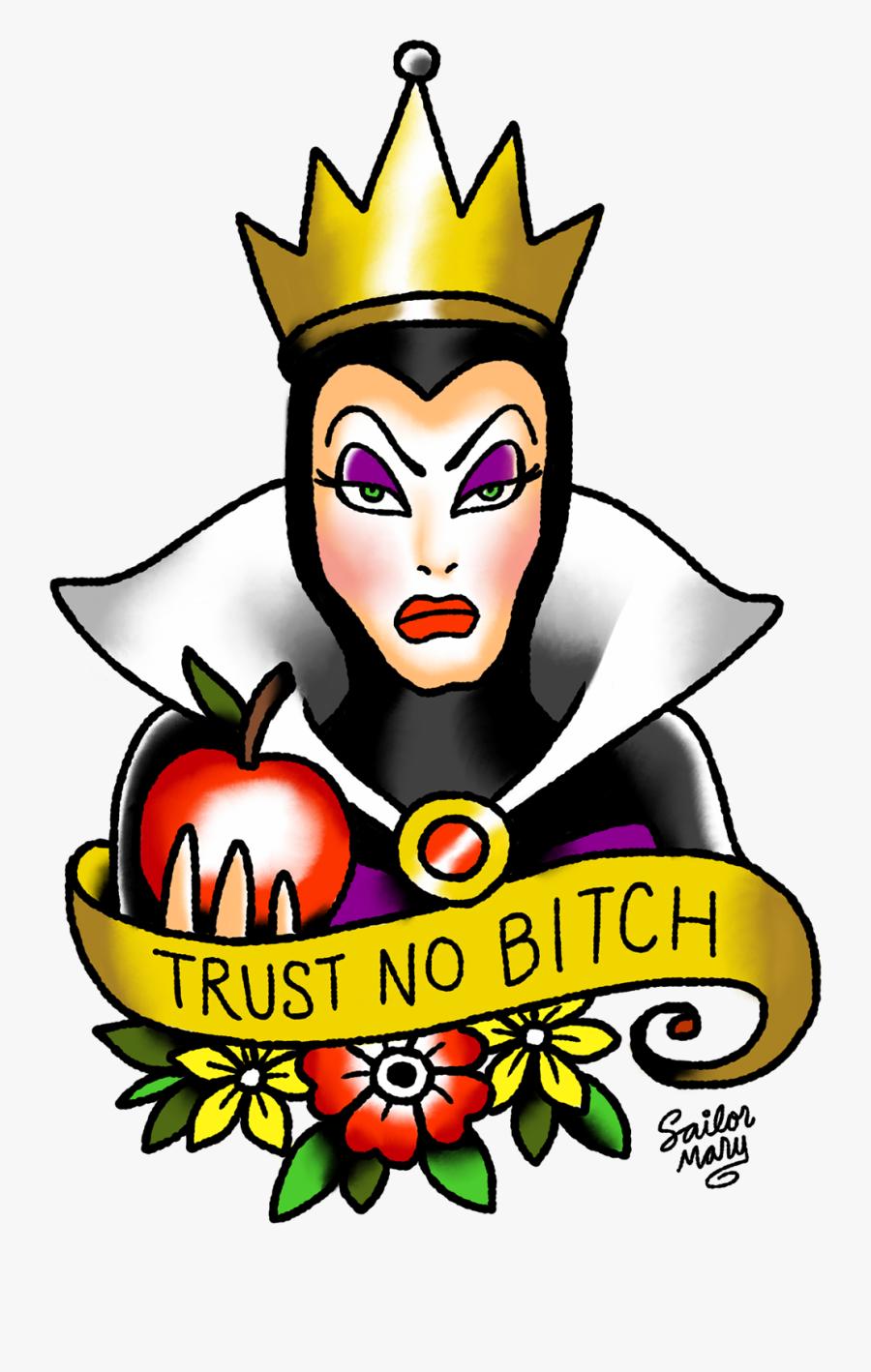 School Queen Old Flash Evil Bitch Clipart - Disney Old School Tattoo, Transparent Clipart