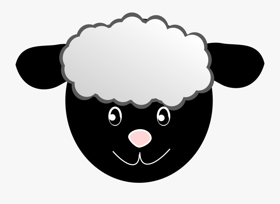 Sheep, Head, Happy, Face, Cartoon, Wool, Black - Sheep Face Mask Printable, Transparent Clipart