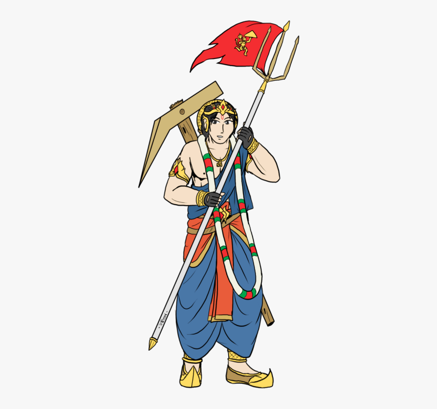 Lord Hanuman With Flag, Transparent Clipart