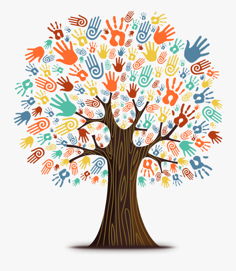 Tree With Hand Prints, Transparent Clipart