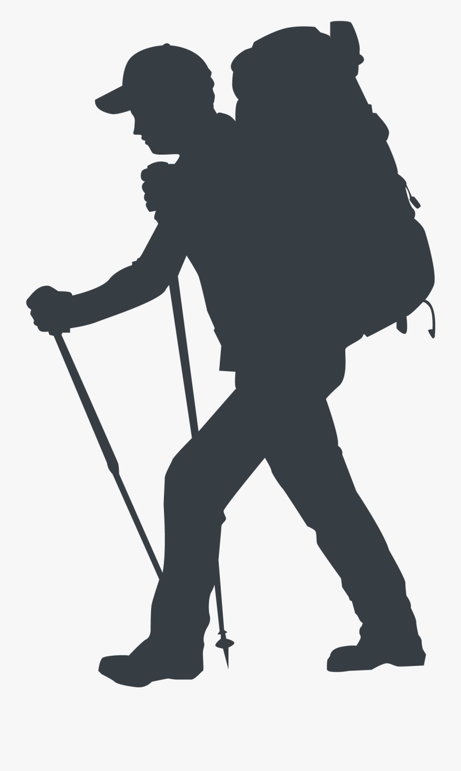 And - Silhouette Hiking, Transparent Clipart