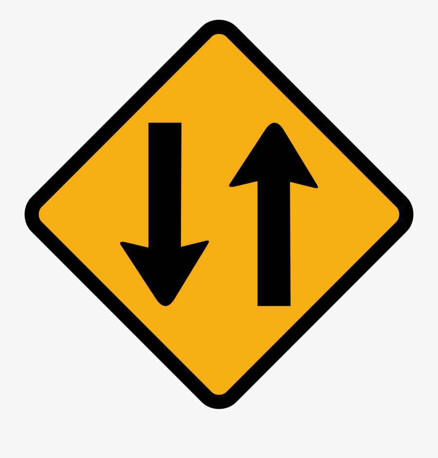 Two, Way, Traffic, Sign, Direction, Road, Street - Right Lane Ends Sign, Transparent Clipart