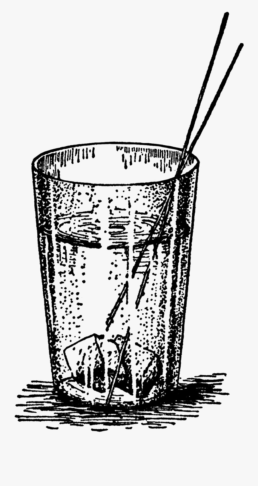 Transparent Vintage Milk Bottle Clipart - Glass Of Water Vintage Illustration, Transparent Clipart