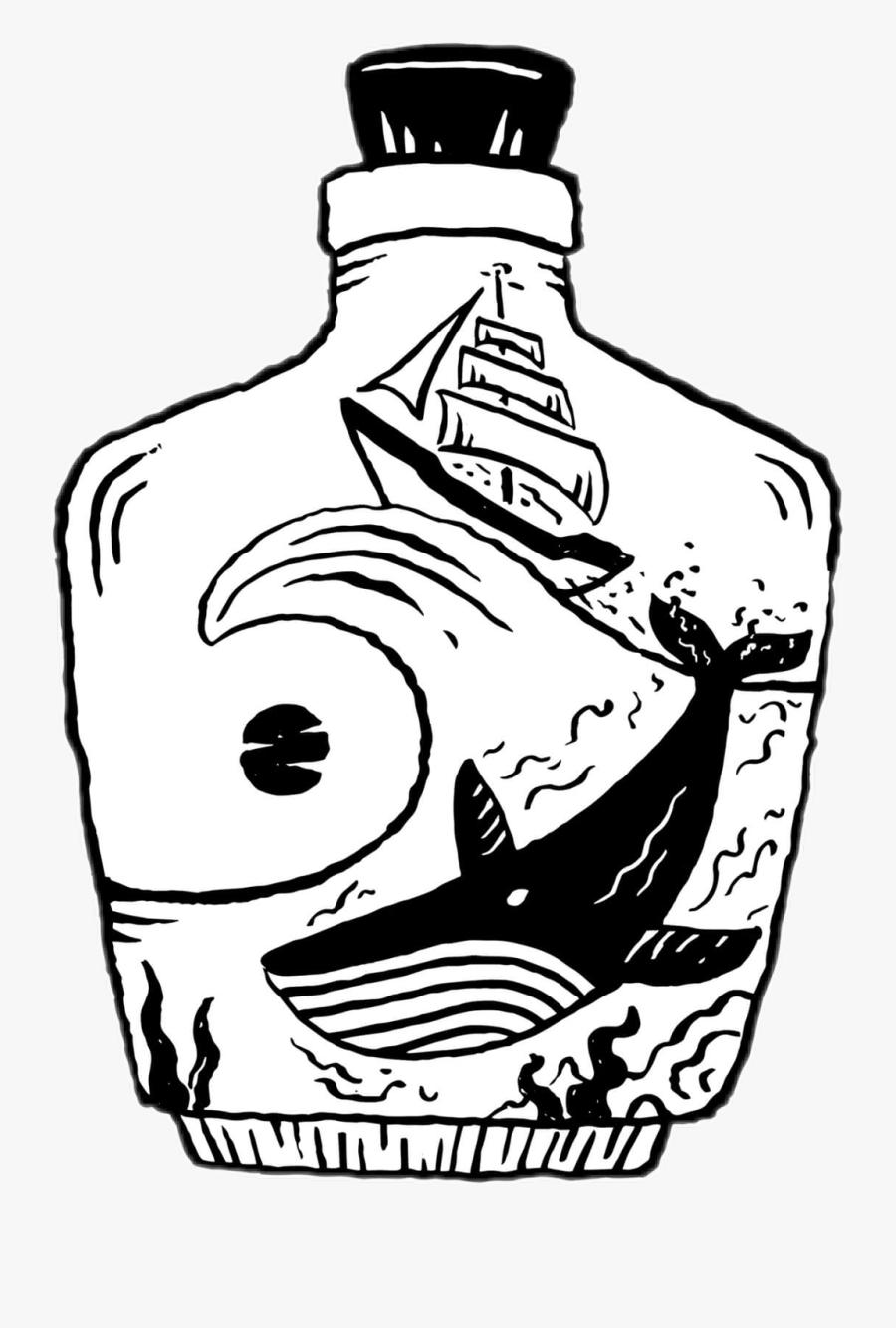 #sticker #bottleart #bottle #whale #sea #ocean #cool - Glass Bottle, Transparent Clipart