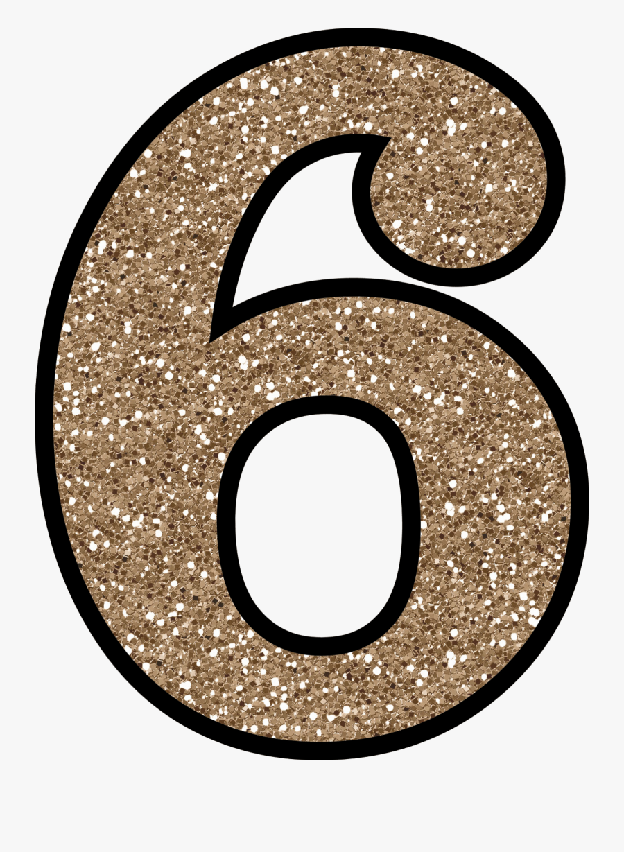 Glitter Number 6   Free Transparent Clipart