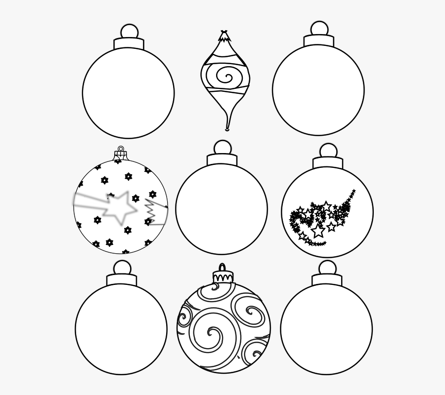 Transparent Christmas Ornament Clipart Black And White - Design Your Own Christmas Bauble, Transparent Clipart