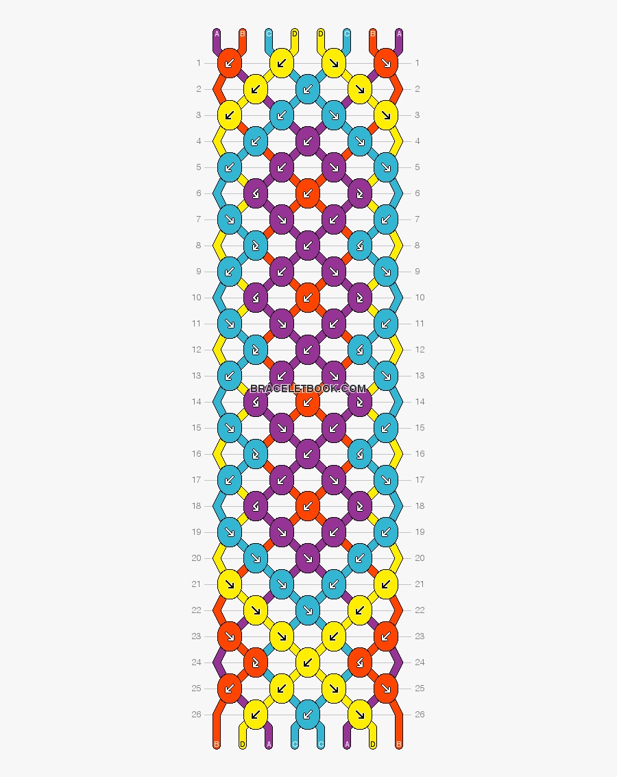 Clip Art Diamond Friendship Bracelet Pattern - Friendship Bracelet Patterns 8 Strings, Transparent Clipart