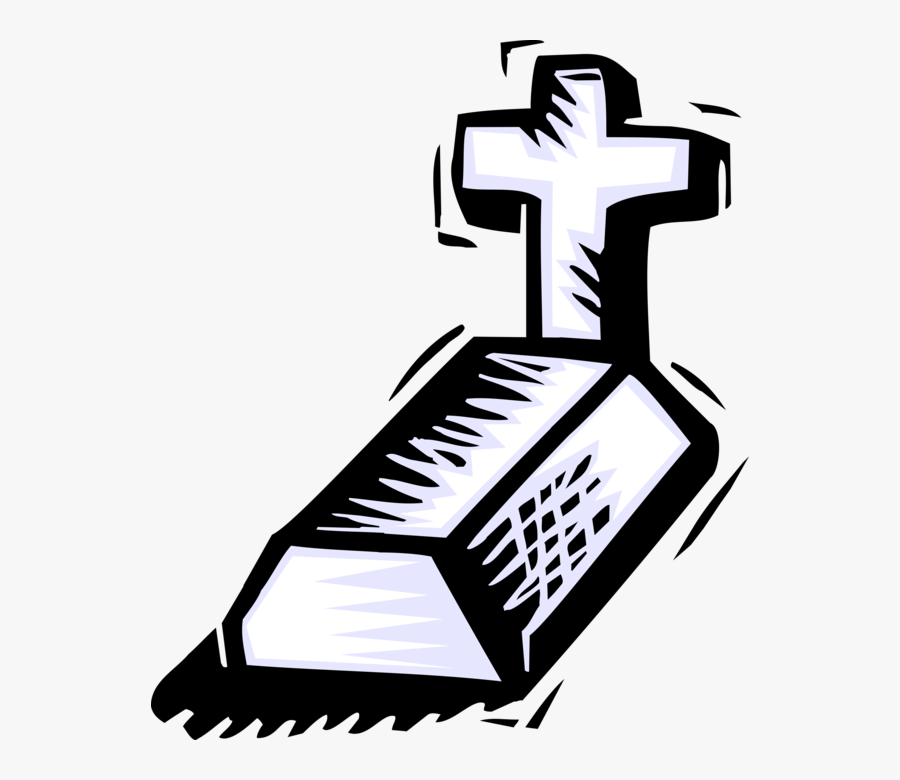Vector Illustration Of Cemetery Plot Grave With Christian - Easy To Draw Grave, Transparent Clipart