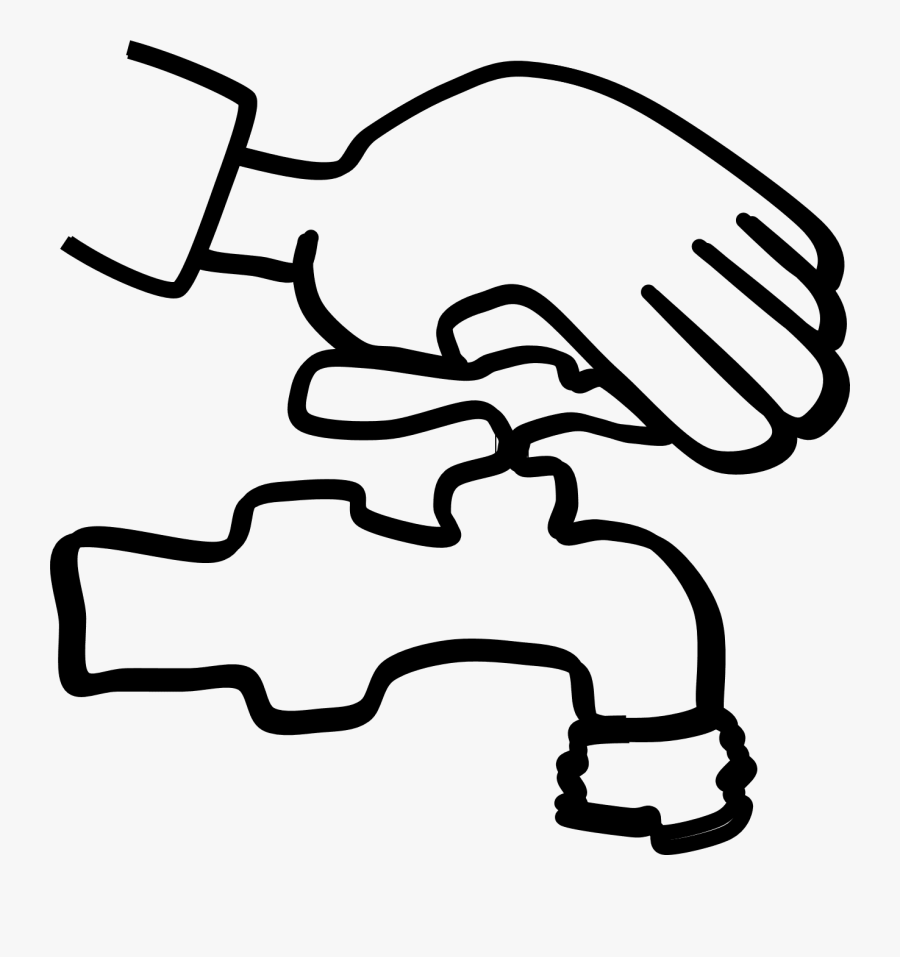 Closing Tap Clipart - Close Water Tap Clipart Black And White, Transparent Clipart