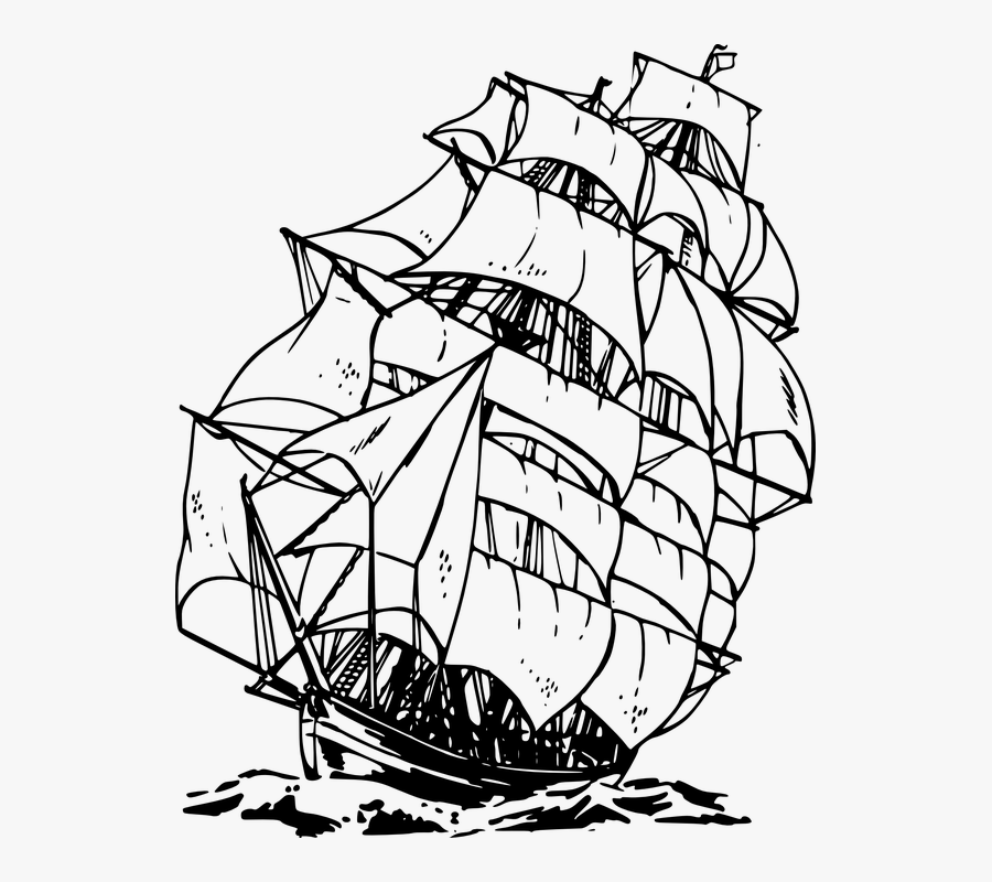 Sailing, Ship, Ocean, Sea, Water, Voyage - Black And White Pirate Ship, Transparent Clipart