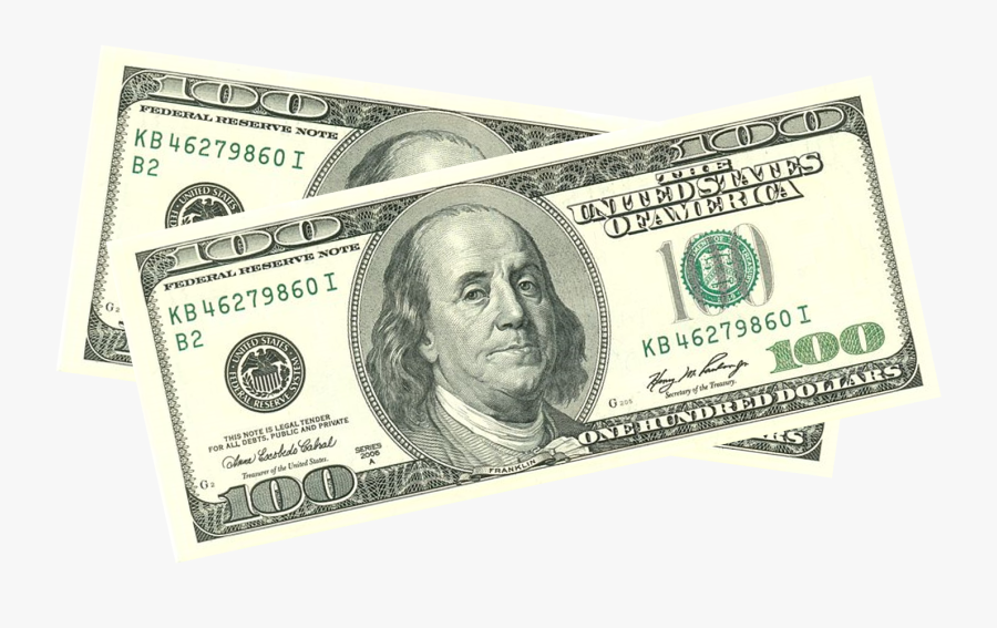 United States One Hundred Dollar Bill Banknote United - 100 Dollar Bill, Transparent Clipart