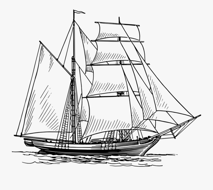Transparent Nautical Clipart Black And White - Old Boat Drawing, Transparent Clipart