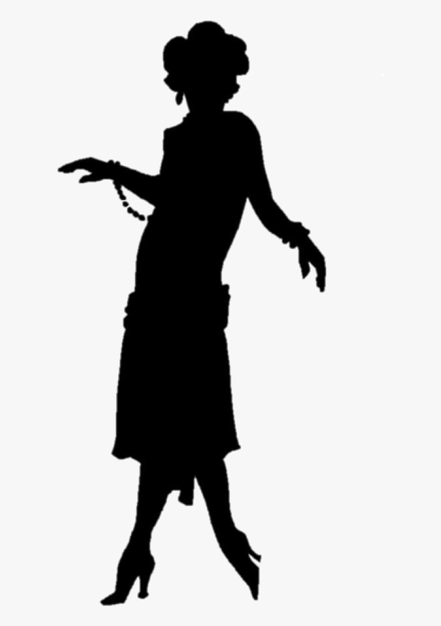 1920s Flapper Silhouette Roaring Twenties - Flapper Png, Transparent Clipart