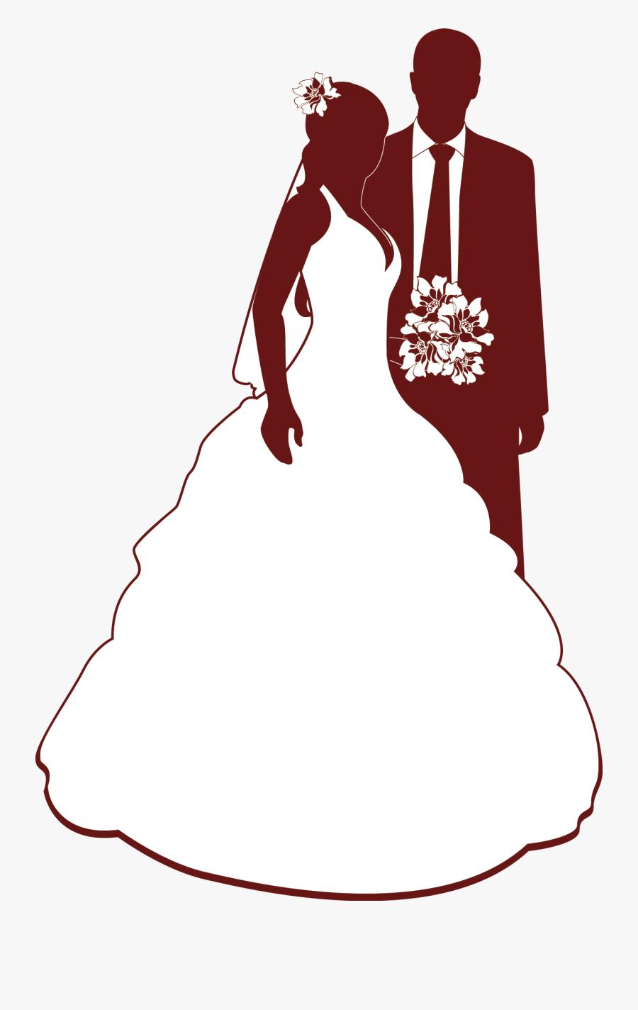 Transparent Bride Silhouette Png - Clip Art For Wedding Invitation, Transparent Clipart