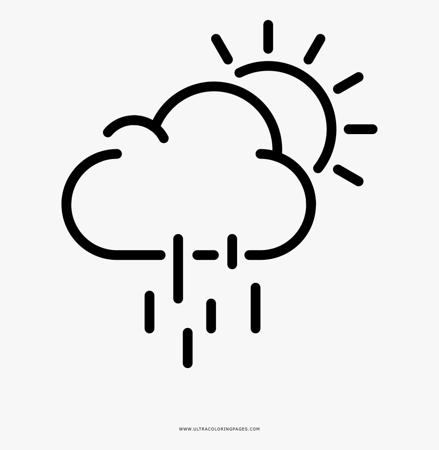 Rainy Day Coloring Page - Smiley Sun Symbol Black And White, Transparent Clipart