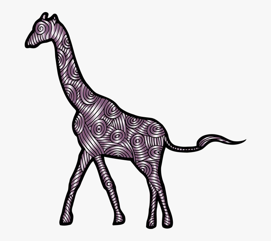 Giraffe, Animal, Mammal, Decorative, Decoration, Zoo - Stylized Giraffe Design, Transparent Clipart