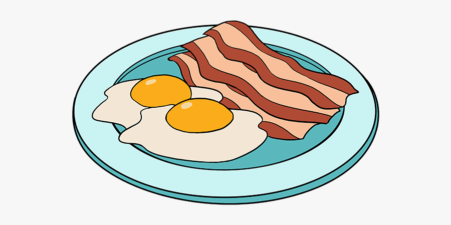How To Draw Bacon And Eggs - Draw Bacon And Eggs, Transparent Clipart