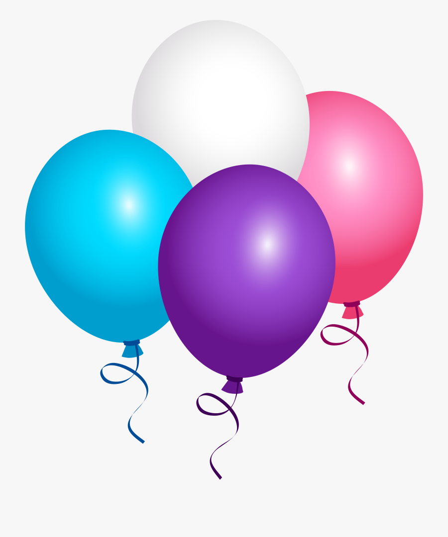 Flying Balloons Png Image - Pink Purple And Blue Balloons, Transparent Clipart