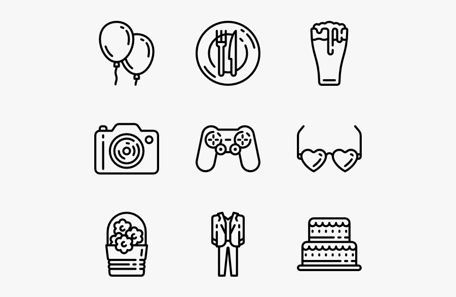 Party Elements - Transparent Background Travel Icons, Transparent Clipart