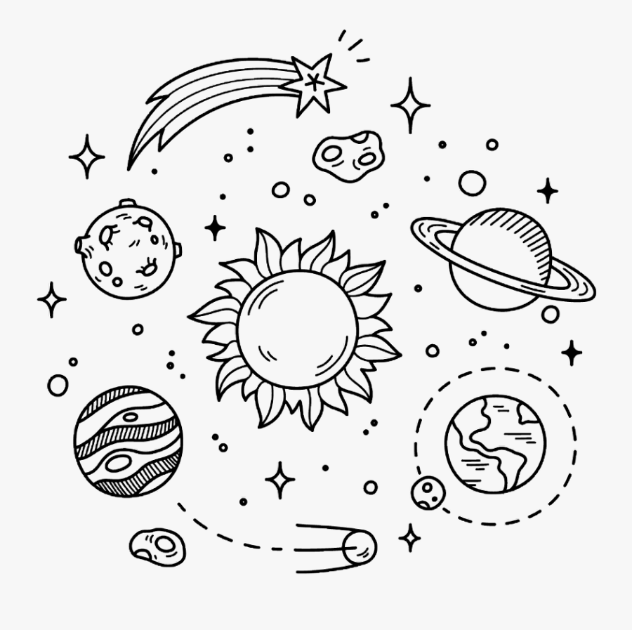 Space - Black And White Planet Sticker, Transparent Clipart