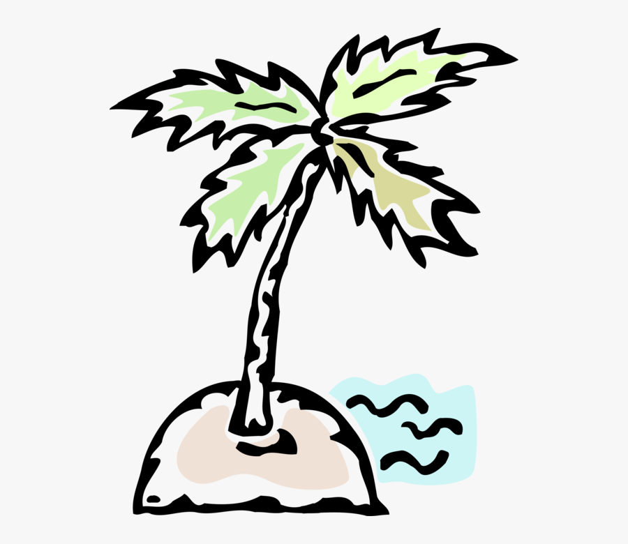 Vector Illustration Of Deserted Island With Palm Tree, Transparent Clipart