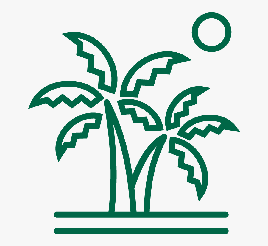 Line Drawing Of Palms On An Island With The Sun In - Adventurous Travel Agency Logo, Transparent Clipart