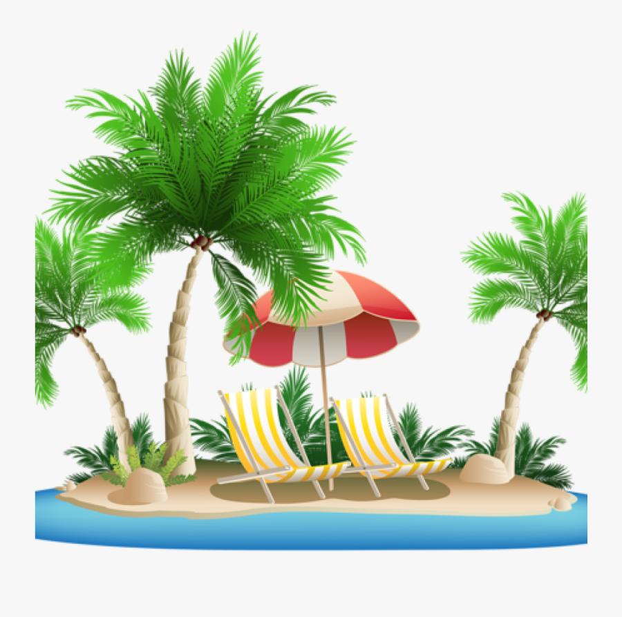 Transparent Tropical Tree Png - Clip Art Beach Transparent Background, Transparent Clipart