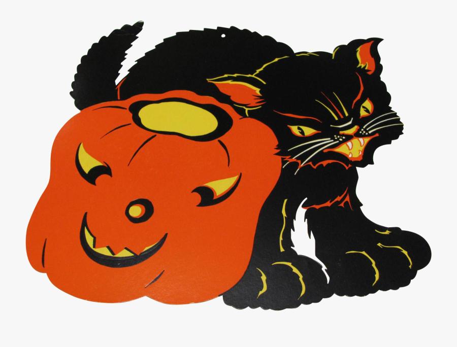 Black Cat Clipart Decoration - Illustration, Transparent Clipart