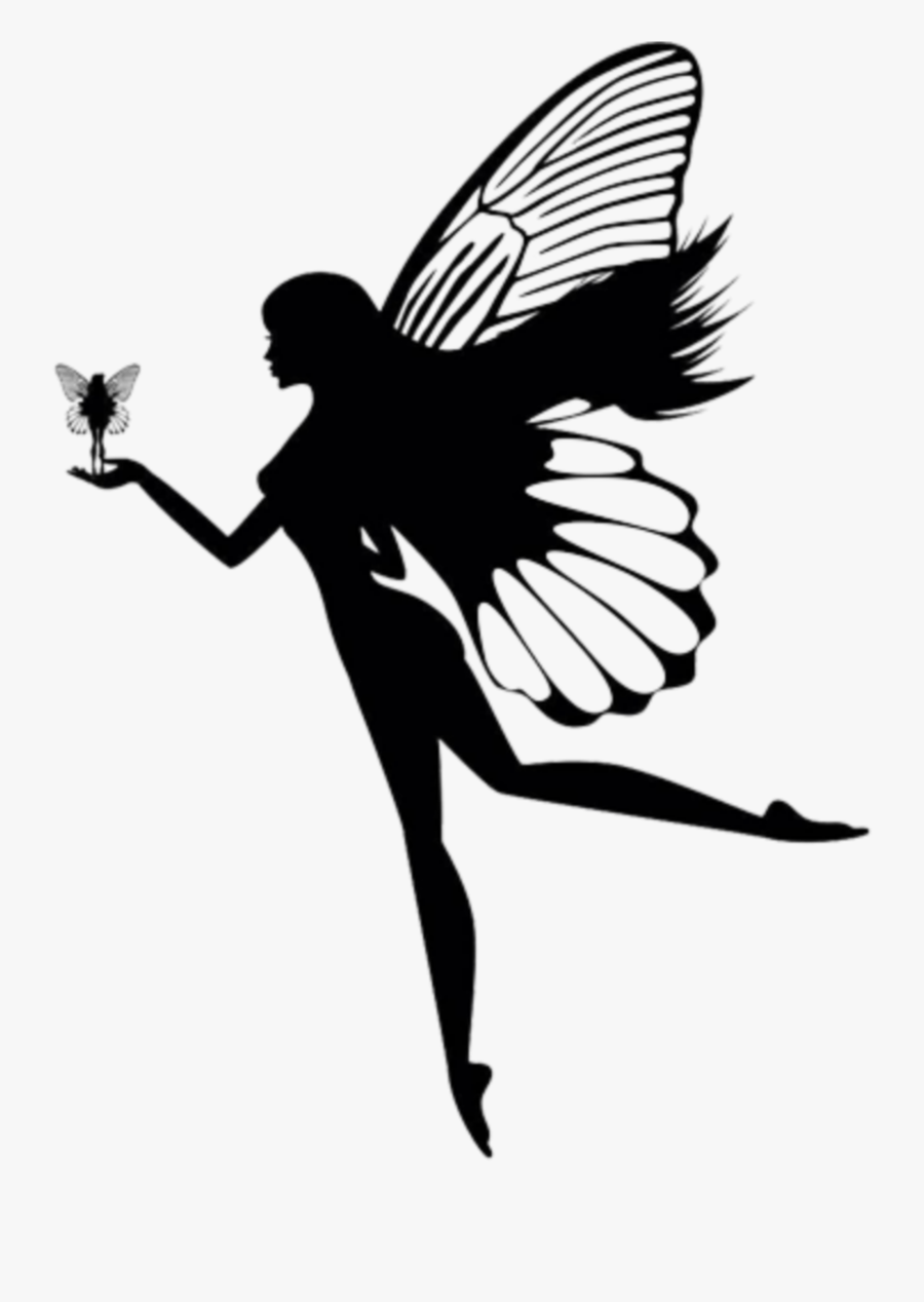 #ftestickers #angel #fairy #silhouette - Girl With Butterfly Wings Silhouette, Transparent Clipart