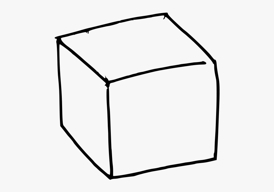 Line Art,square,angle - Black And White Cube, Transparent Clipart