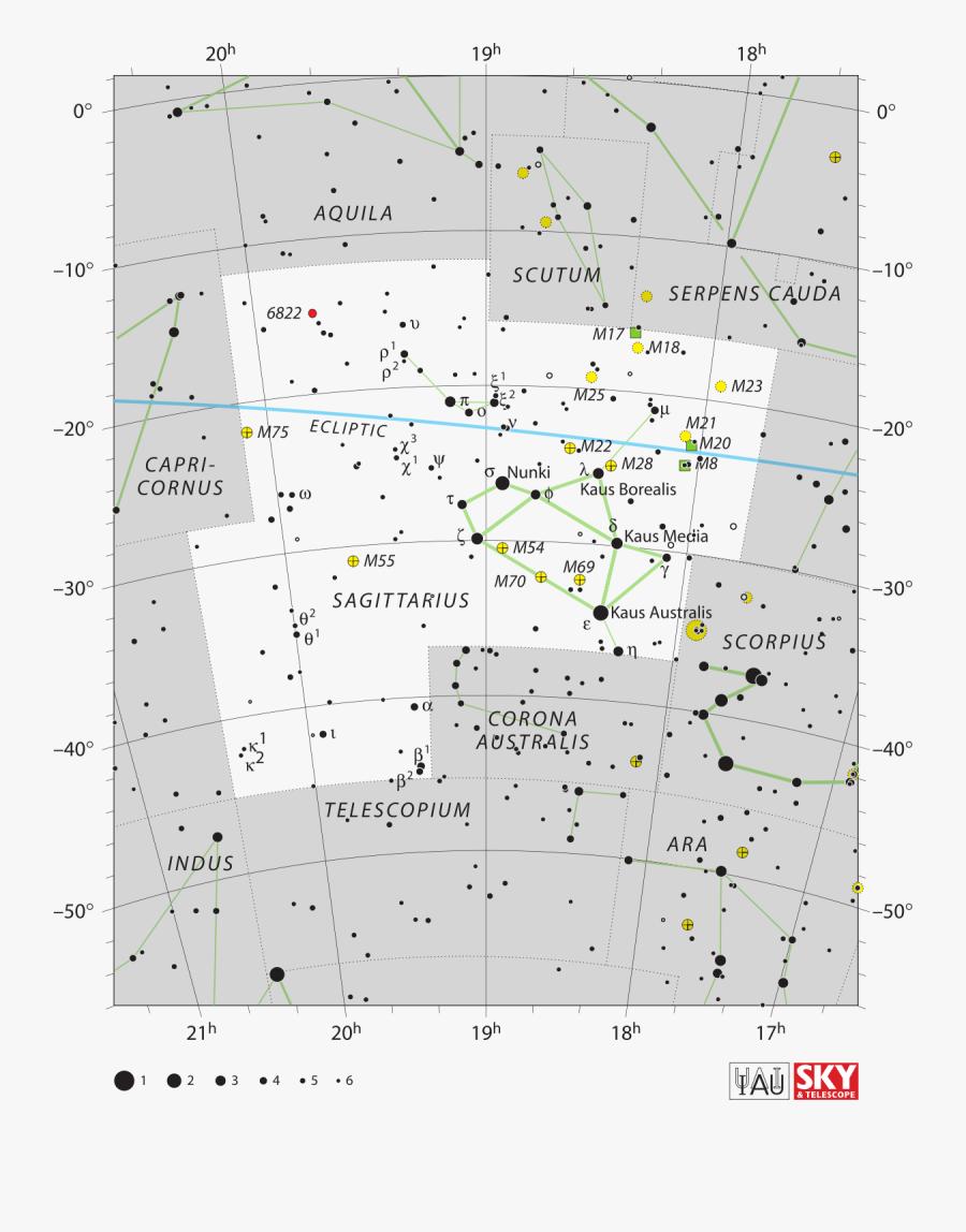 Clip Art Sagittarius Constellation Wikipedia - Sagittarius Constellation Map, Transparent Clipart