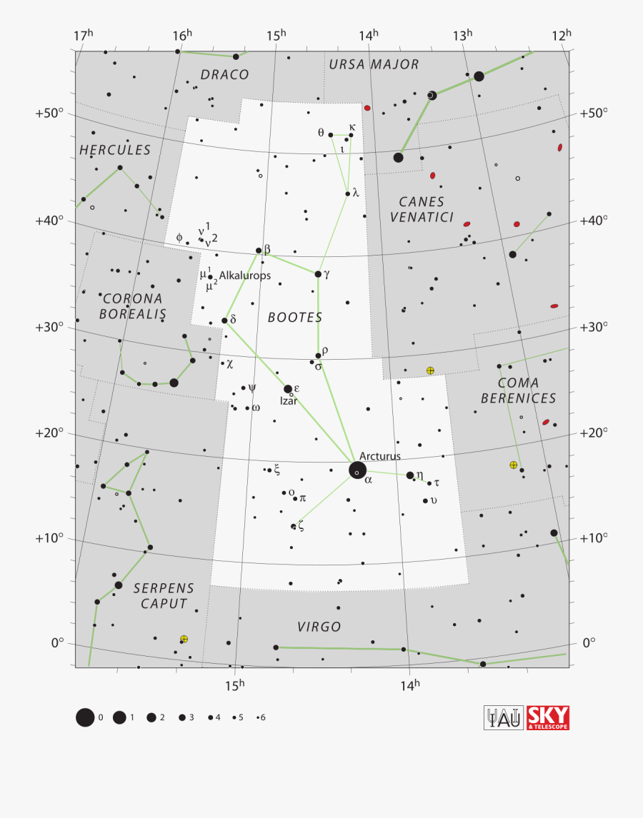 Transparent Row Of Stars Png - Bootes Constellation Star Chart, Transparent Clipart
