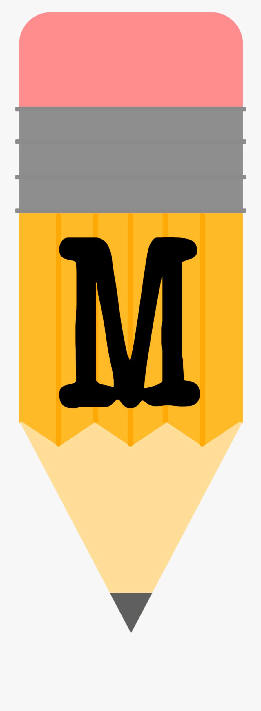 Pencil Alphabet Banner M 1,076×2,778 Píxeles - Letters Welcome Back To School Banner Pencil, Transparent Clipart