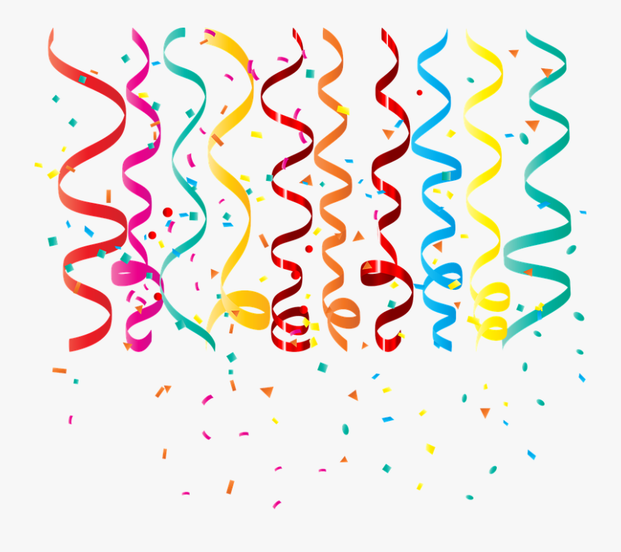 Confetti Curling Ribbon Birthday Streamers Party - Red Confetti Background Png, Transparent Clipart