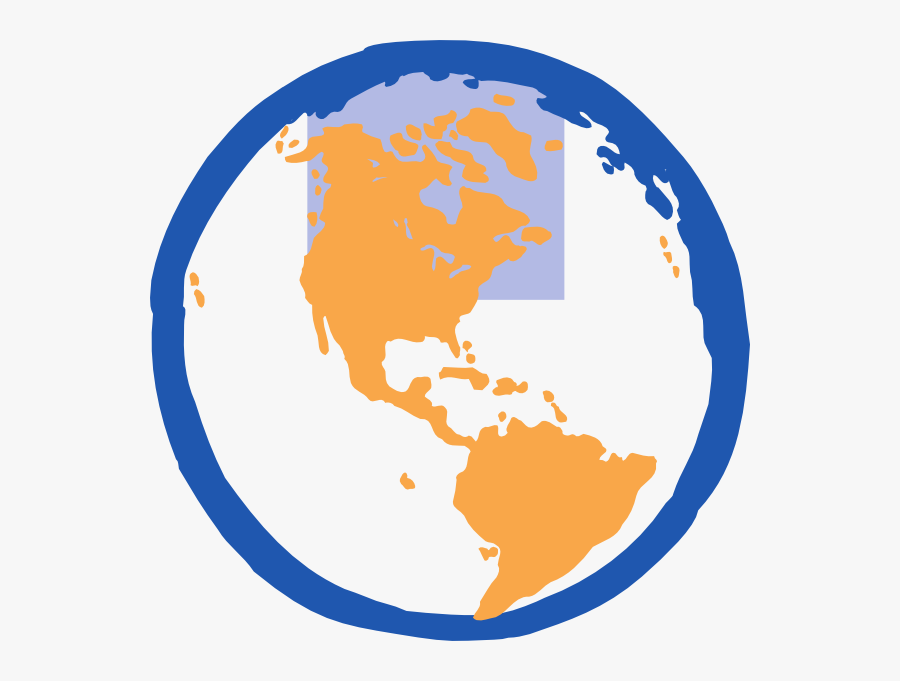 Transparent Wireframe Globe Png - Western Hemisphere Clip Art, Transparent Clipart