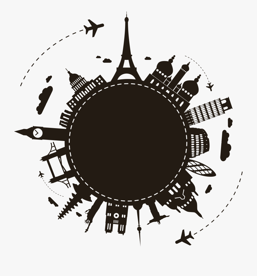 Silhouette Package Travel Agent Tour Earth Clipart - Study In Abroad Vector, Transparent Clipart