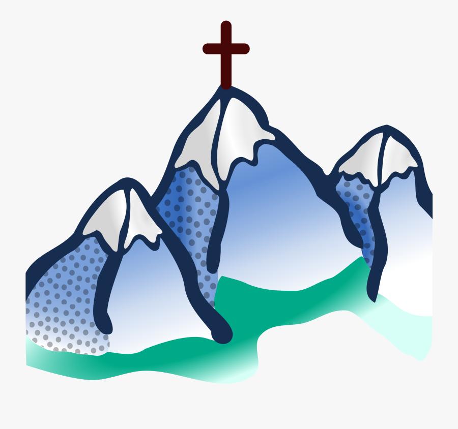 Transparent Mountain Clip Art - Mountain With Cross Clipart, Transparent Clipart