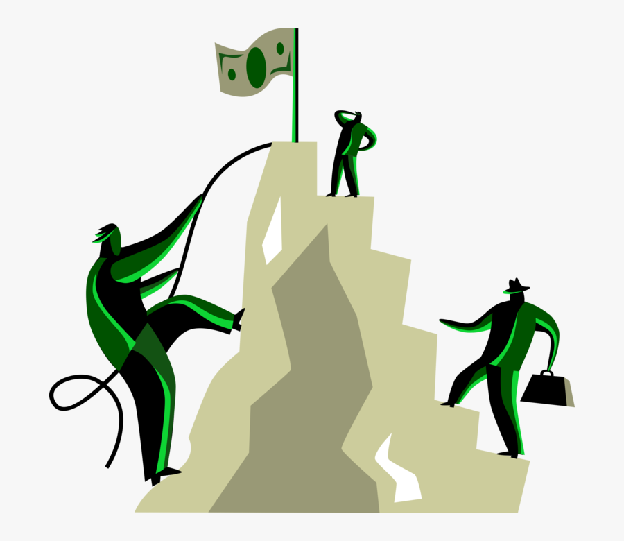 Vector Illustration Of Business Associates Climb Mountain - Climbing Mountain Clip Art, Transparent Clipart