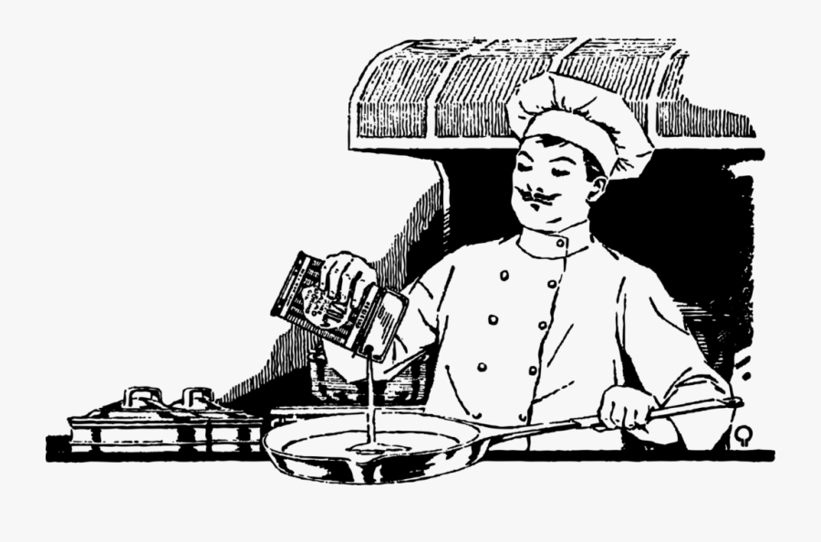 Chef Cooking - Chef Cooking Black And White, Transparent Clipart