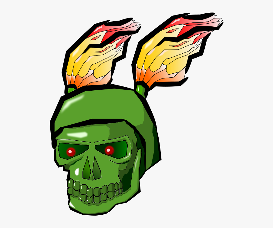 Green Skull With Flames Large 900pixel Clipart, Green - Portable Network Graphics, Transparent Clipart