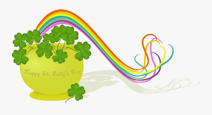 March Clipart Patricks Day - March Rainbow Pot Of Gold, Transparent Clipart