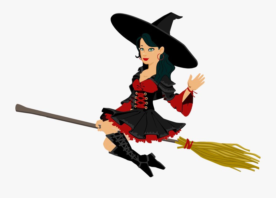 Flying Witch Clipart At Getdrawings - Flying Witch On Broom, Transparent Clipart