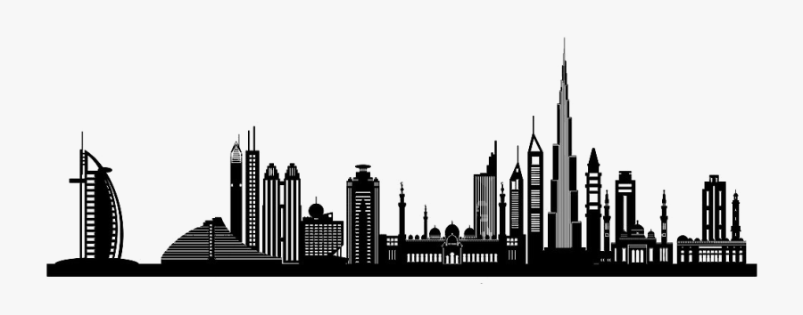 Dubai Silhouette Skyline Clip Art - Vector City Building Png, Transparent Clipart