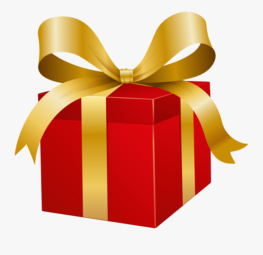 Red Present Box Png Clip Art - Gold Gift Box Png Hd, Transparent Clipart