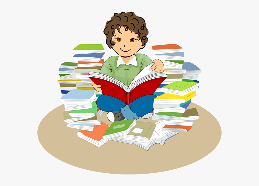 Girls Read Book Library Clipart - Reading Book Cartoon Reading Png, Transparent Clipart