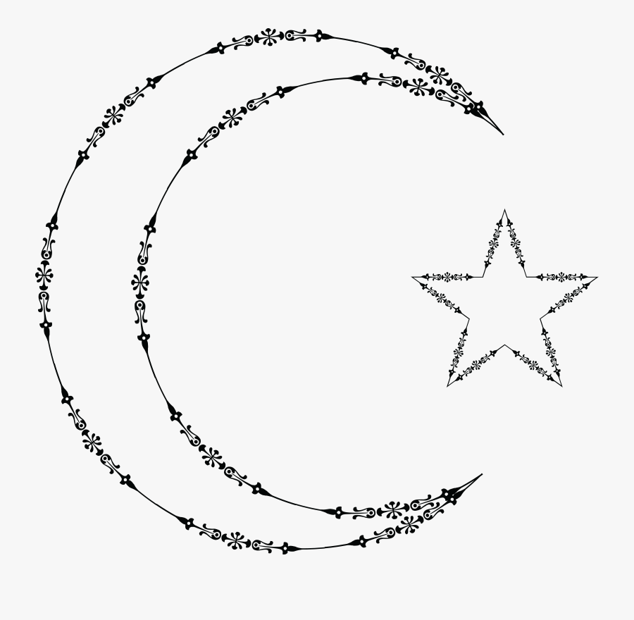 Free Clipart Of A Fancy Outlined Crescent Moon And - Star And Moon Clipart, Transparent Clipart